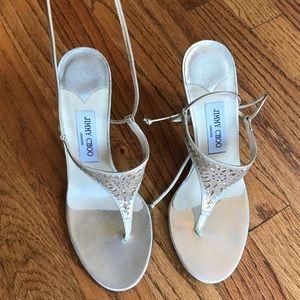 Jimmy Choo gold thong lace up heels (LIKE NEW)